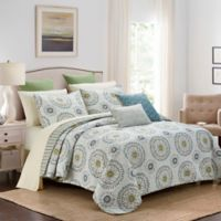 Amalfi Queen Quilt Set in White/Blue