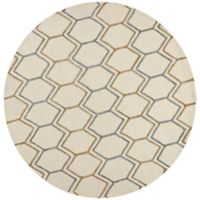 KAS Impressions Honeycomb 5-Foot 6-Inch Round Area Rug in Ivory