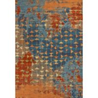 KAS Illusions Elements 3-Foot 4-Inch x 4-Foot 11-Inch Accent Rug in Blue/Coral