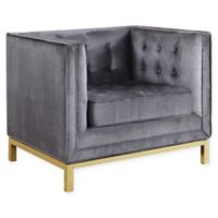 Chic Home Vigan Velvet Club Chair in Grey