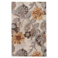 Jaipur Blue Collection Floral 3-Foot 6-Inch x 5-Foot 6-Inch Area Rug in Ivory/Yellow