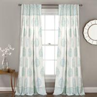 Lush Décor Teardrop Leaf 84-Inch Rod Pocket Room Darkening Window Curtain Panel Pair in Blue