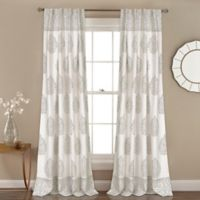 Lush Décor Teardrop Leaf 84-Inch Rod Pocket Room Darkening Window Curtain Panel Pair in Grey