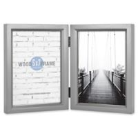 Gallery 5-Inch x 7-Inch 2-Photo Collage Wood Picture Frame in Grey