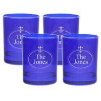 Carved Solutions Fleur de Lis Double Old Fashioned Glasses in Sapphire (Set of 4)