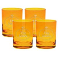 Carved Solutions Fleur de Lis Double Old Fashioned Glasses in Topaz (Set of 4)
