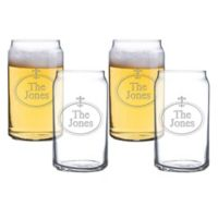 Carved Solutions Fleur de Lis Beer Can Glasses (Set of 4)