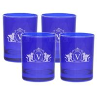 Carved Solutions Griffin Double Old Fashioned Glasses in Sapphire (Set of 4)