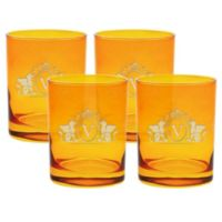 Carved Solutions Griffin Double Old Fashioned Glasses in Topaz (Set of 4)