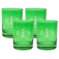 Carved Solutions Old Fashioned Glasses in Emerald (Set of 4)