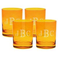 Carved Solutions Old Fashioned Glasses in Topaz (Set of 4)