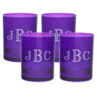 Carved Solutions Old Fashioned Glasses in Amethyst (Set of 4)