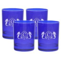 Carved Solutions Mermaid Old-Fashioned Glasses in Sapphire (Set of 4)