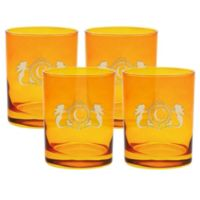 Carved Solutions Mermaid Old-Fashioned Glasses in Topaz (Set of 4)