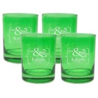 Carved Solutions Mr. & Mrs. Old-Fashioned Glasses in Emerald (Set of 4)