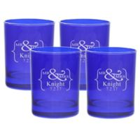 Carved Solutions Mr. & Mrs. Old-Fashioned Glasses in Sapphire (Set of 4)