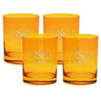 Carved Solutions Mr. & Mrs. Old-Fashioned Glasses in Topaz (Set of 4)