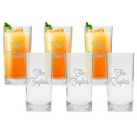 Carved Solutions Multi Name High Ball Glasses (Set of 6)