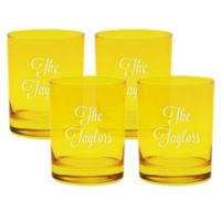 Carved Solutions Multi Name Old-Fashioned Glasses in Citrine (Set of 4)