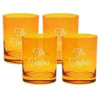Carved Solutions Multi Name Old-Fashioned Glasses in Topaz (Set of 4)