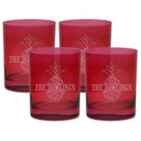 Carved Solutions Pineapple Old Fashion Glasses in Ruby (Set of 4)