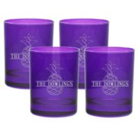 Carved Solutions Pineapple Old Fashion Glasses in Amethyst (Set of 4)