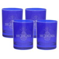 Carved Solutions Pineapple Old Fashion Glasses in Sapphire (Set of 4)