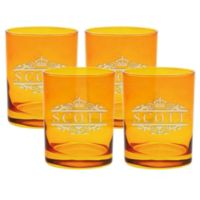 Carved Solutions Scott Double Old Fashioned Glasses in Topaz (Set of 4)