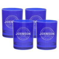 Carved Solutions Sports Bar Double Old Fashioned Glasses in Sapphire (Set of 4)