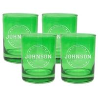 Carved Solutions Sports Bar Double Old Fashioned Glasses in Emerald (Set of 4)