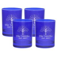 Carved Solutions Tree of Life Old Fashion Glasses in Sapphire (Set of 4)