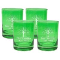 Carved Solutions Tree of Life Old Fashion Glasses in Emerald (Set of 4)