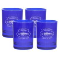 Carved Solutions Trout Double Old Fashioned Glasses in Sapphire (Set of 4)