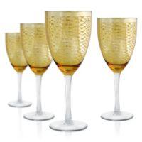 Artland Animal Skin Snake Wine Goblet in Gold (Set of 4)