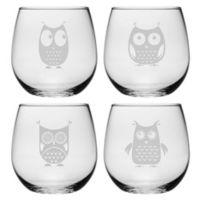 Susquehanna Glass Owls Stemless Wine Glasses (Set of 4)