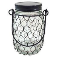 The Gerson Companies 5.4-Inch Lighted Clear Glass Jar with Black Wire, Lid, and Handle