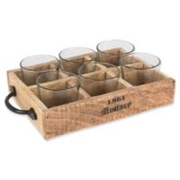 The Gerson Companies Reclaimed Wood and Metal Tray with 6 Glass Votive Cups
