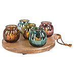 The Gerson Companies Multicolor Ribbed Glass Votive Cups on Round Wood Tray