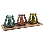 The Gerson Companies Multicolor Bowed Glass Votive Cups on Rectangle Wood Tray