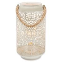 Gerson 11.8-Inch Metal/Rope Lantern with Micro LED Lights in Grey