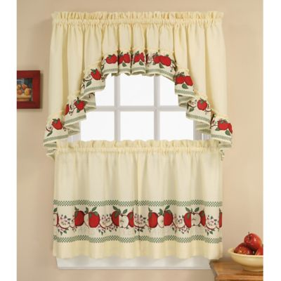 red delicious 24inch kitchen window curtain tiers and swag in multi