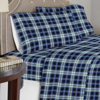 Pointehaven 175 GSM Ashby Plaid Flannel Full Sheet Set in Blue