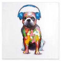 Dog Beats III Mixed Media 24-Inch Square Canvas Wall Art