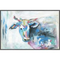 """Marmont Hill """"Pastel Cow"""" 24-Inch x 16-Inch Framed Wall Art"""