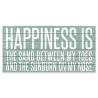 """Marmont Hill """"Happiness is Sand"""" 18-Inch x 36-Inch Wooden Wall Art"""