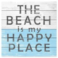"""Marmont Hill """"The Beach is My Happy Place"""" 18-Inch Square Wooden Wall Art"""