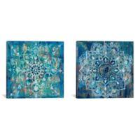 "iCanvas ""Mandala"" 2-Piece Extra-Deep 60-Inch x 30-Inch Canvas Wall Art Set in Blue"