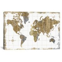 "iCanvas ""Gilded Map"" Extra-Deep 26-Inch x 18-Inch Canvas Wall Art"