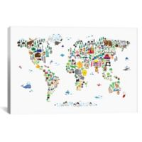 """iCanvas """"Animal Map of the World"""" 26-Inch x 18-Inch Canvas Wall Art"""
