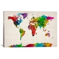 """iCanvas """"Watercolor Map of the World III"""" Extra-Deep 18-Inch x 12-Inch Canvas Wall Art"""